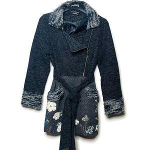 Sacred Threads gray zip belt floral boho jacket S